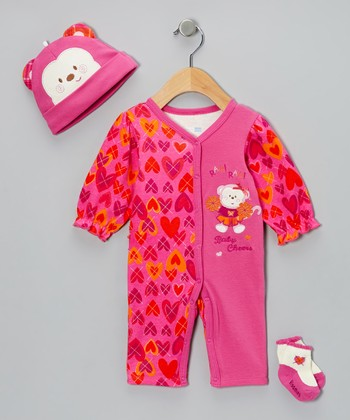Pink 'Baby Cheers' Playsuit Set