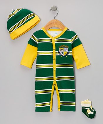 Green 'Class Act' Layered Playsuit Set - Infant