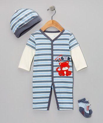 Blue 'Mommy's Tiger' Layered Playsuit Set - Infant