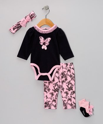 Black Ballet Butterfly Bodysuit Set - Infant