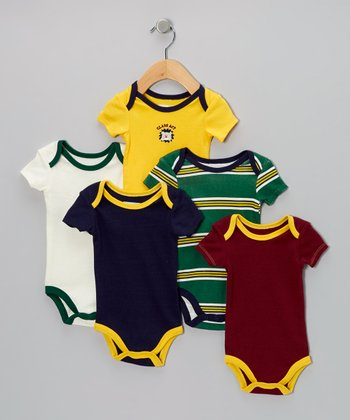 Green & Gold 'Class Act' Bodysuit Set - Infant