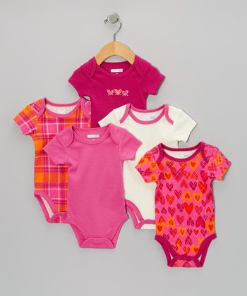 Pink Plaid & Hearts Bodysuit Set - Infant