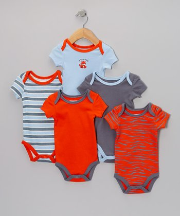 Orange & Blue 'Wild Cub' Bodysuit Set - Infant