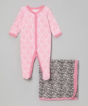 Pink Zebra Damask Footie & Blanket - Infant