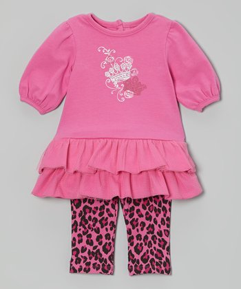 Pink Ruffle Dress & Leopard Leggings