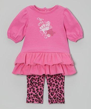 Vitamins Baby Pink Ruffle Dress & Leopard Leggings - Infant