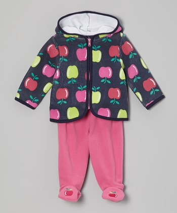 Navy Apple Hoodie & Pink Footie Pants - Infant