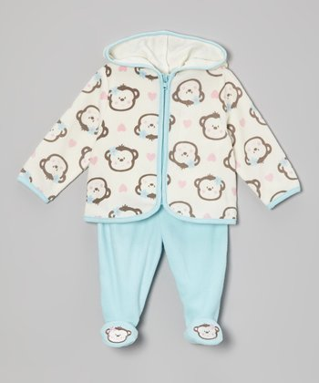 Turquoise Monkey Hoodie & Footie Pants - Infant