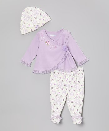 Lilac Floral Damask Footie Pants Set