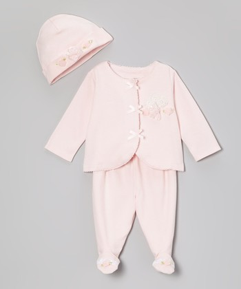 Pink Rosebud Footie Pants Set - Infant