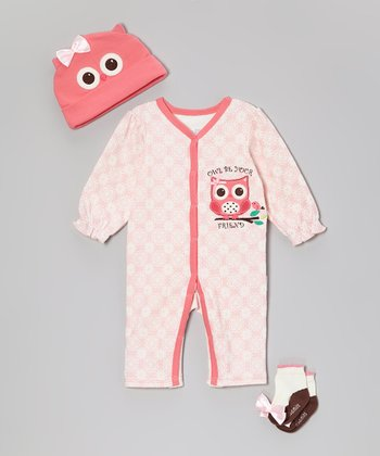 Pink Owl Playsuit Set