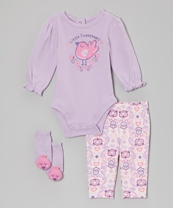 Lilac 'Little Tweetheart' Bodysuit Set
