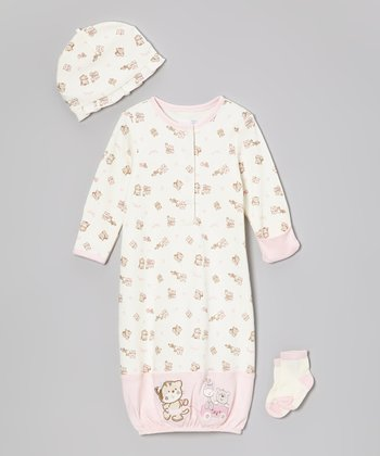 Pink Kitten Gown Set