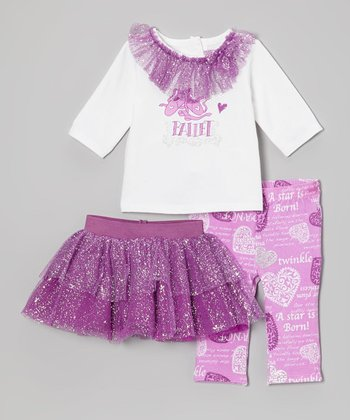 Purple Sparkle Ballet Skirt Set - Infant