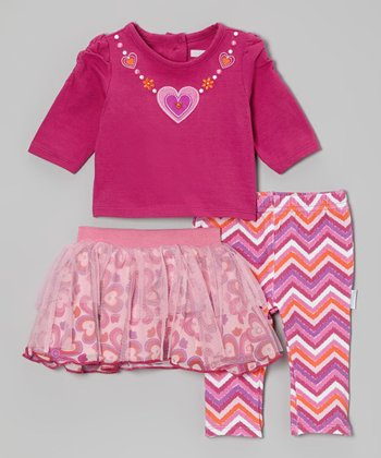 Burgundy Zigzag Heart Skirt Set - Infant