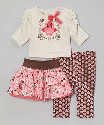 Pink Owl Skirt Set