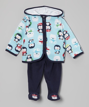 Blue Penguin Hoodie & Footie Pants - Infant