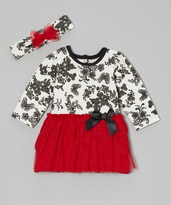 Red Butterfly Skirted Bodysuit & Headband - Infant