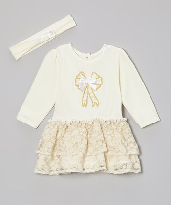 Gold Lace Skirted Bodysuit & Headband - Infant