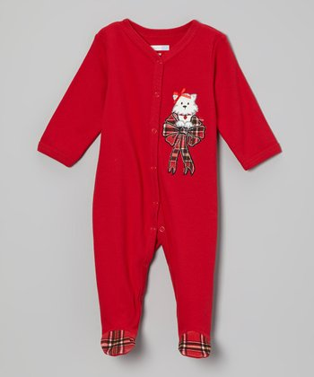 Red Plaid Bow Footie - Infant