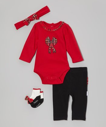 Red Plaid Bow Bodysuit Set - Infant