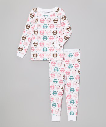 White Owls Pajama Set - Infant & Toddler