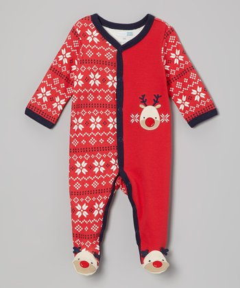 Red Reindeer Footie - Infant