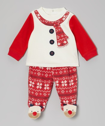 Red Reindeer Footie Pants Set - Infant