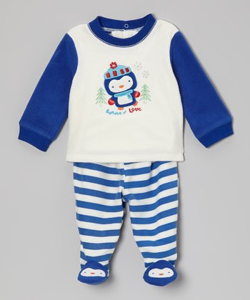 Blue 'Bundle of Love' Penguin Footie Pant Set - Infant