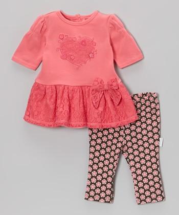Vitamins Baby Pink Lace Dress & Black Leggings - Infant