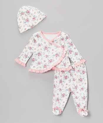 Ivory & Pink Floral Wrap Top Set - Infant