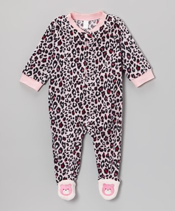 Pink Leopard Microfleece Footie - Infant