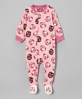 Pink Owl Microfleece Footie - Infant