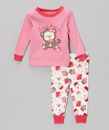 Pink 'Sweet Dreams' Monkey Pajama Set - Toddler