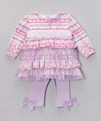Pink & Purple Heart Ruffle Tunic & Leggings - Infant