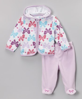 Purple & Blue Bow Zip-Up Hoodie & Footie Pants - Infant