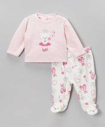 Pink & White Bear Ballerina Tee & Footie Pants - Infant