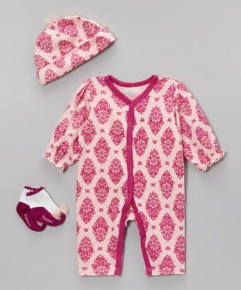 Vitamins Baby Pink & Fuchsia Damask Playsuit Set - Infant