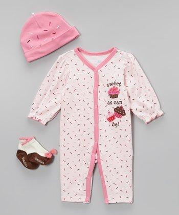 Vitamins Baby Pink 'Sweet as Can Be' Sprinkle Cupcake Playsuit Set - Infant