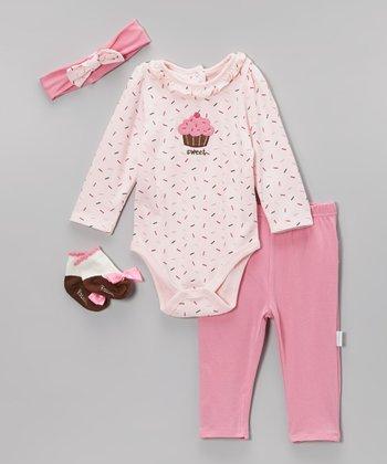 Vitamins Baby Pink 'Sweet' Sprinkle Cupcake Bodysuit Set - Infant