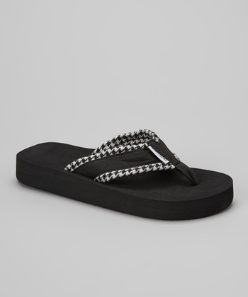 Black & White Houndstooth Flip-Flop