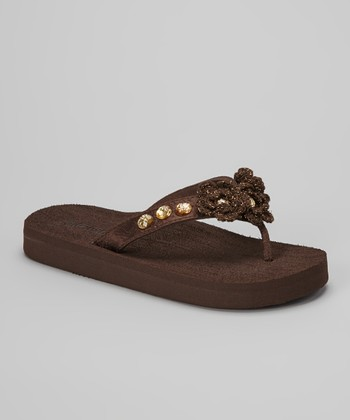 Brown Crocheted Bloom Flip-Flop