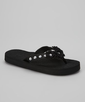 Black Crocheted Bloom Flip-Flop
