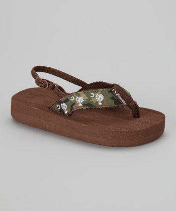 Green & Brown Palmetto Flip-Flop - Kids