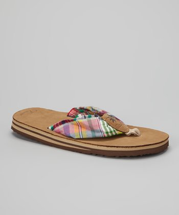 Pink & Green Summer Madras Leather Flip-Flop - Women