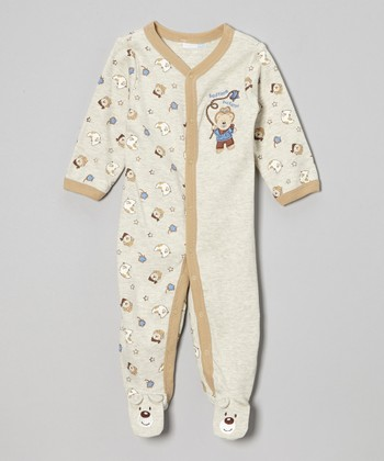 Gray & Brown 'Bedtime Buckaroo' Bear Footie - Infant