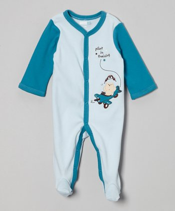 Blue 'Pilot in Training' Footie - Infant