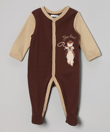 Brown 'Yee-Haw!' Footie - Infant