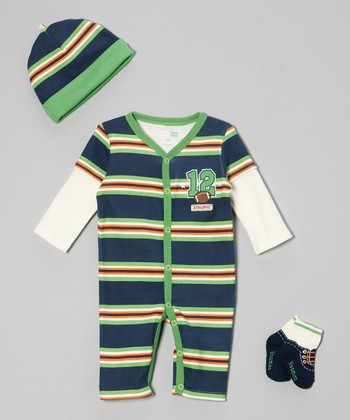Navy & Green Stripe '12' Football Playsuit Set - Infant