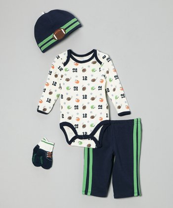 Navy & Green Football Bodysuit Set - Infant